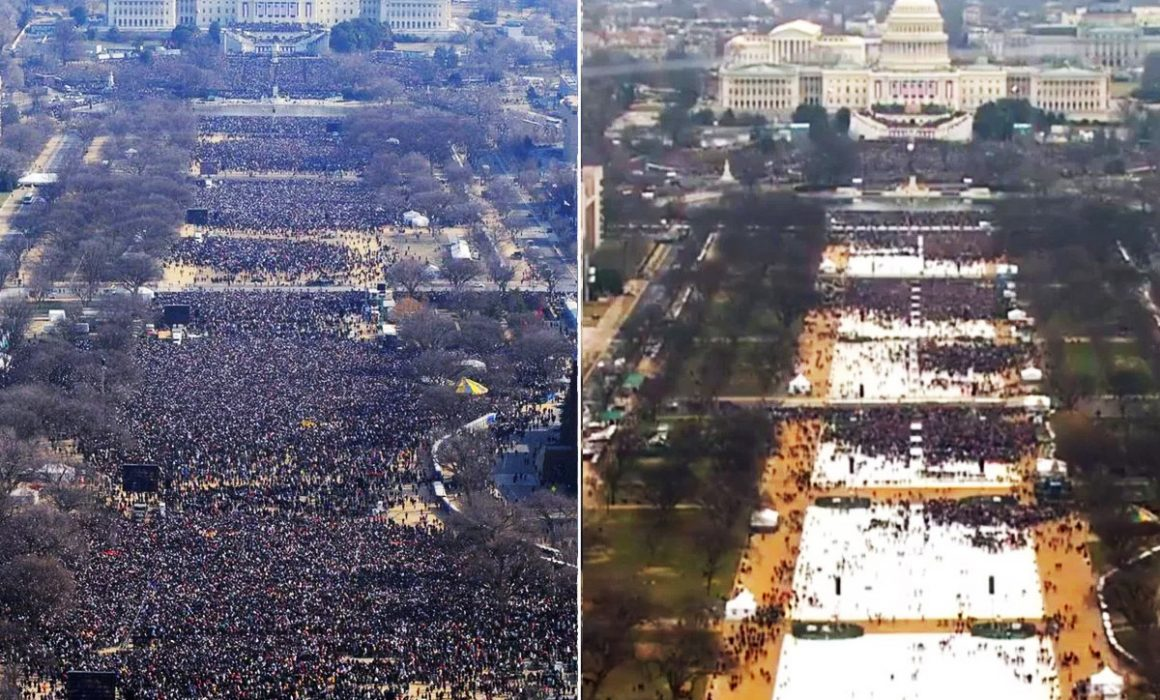 Comparing Obama's and Trump's inauguration crowds