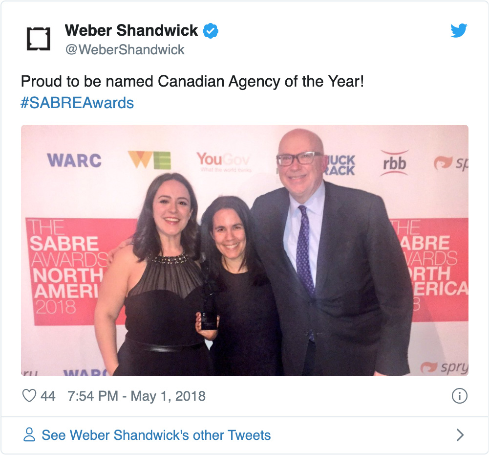 Weber Shandwick Canada wins Agency of the Year